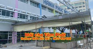 Làm mái bạt xếp che nắng mưa cho bệnh viện giá rẻ